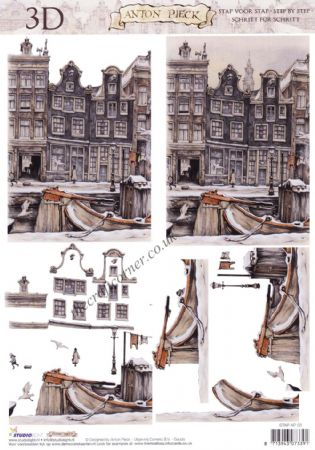 Anton Pieck Houses By A Canal Street Scene 3D Decoupage Sheet